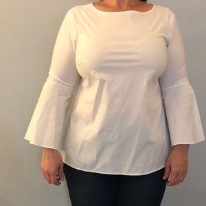 Talbots long slv button back dress blouse